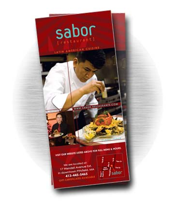 Client: SABOR RESTAURANT, Latin-american cuisine. Pittsfield, MA. Project: Rack card design
