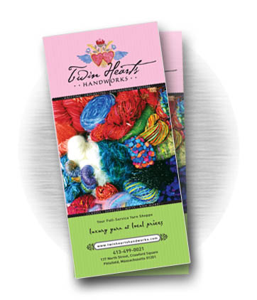 Client: TWIN HEARTS HANDWORKS, full-service yarn store located in Pittsfield, MA. Project: Tri-fold brochure design
