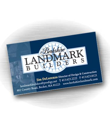 Client: BERKSHIRE LANDMARK BUILDERS, homebuilding company based in Becket, MA. Project: Business card design