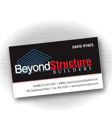 Client: BEYOND STRUCTURE BUILDERS, building company based in Lee, MA. Project: Business card design