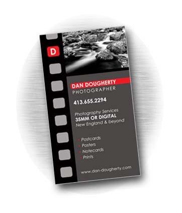 Client: DAN DOUGHERTY, Photographer. Private photography adventures. Becket, MA. Project: Business card design