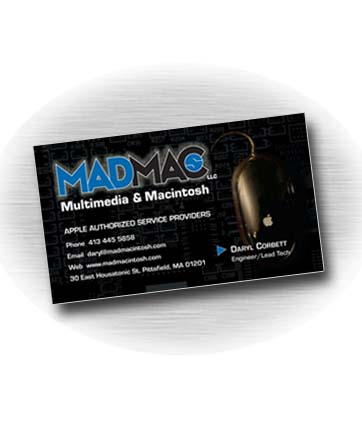 Client: MAD MACs, Apple authorized service provider. Pittsfield, MA. Project: Business card design
