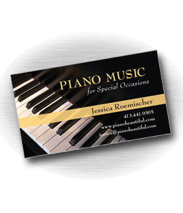 Client: PIANO MUSIC, Jessica Roemischer. Piano music for special occasions. Lenox, MA. Project: Business card design