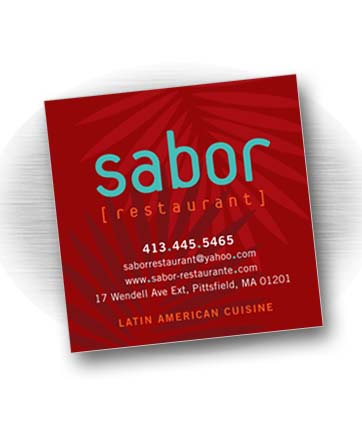 Client: SABOR RESTAURANT, Latin-American Cuisine. Pittsfield, MA Project: Business card design