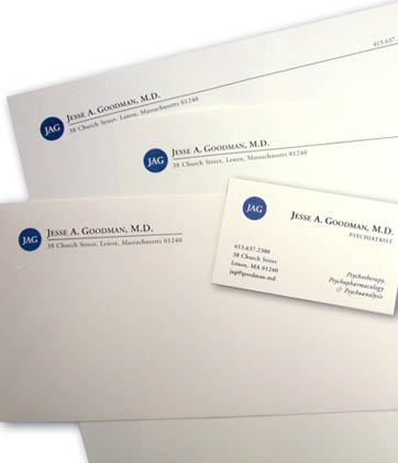 Client: JESSE A. GOODMAN, M.D. psychiatrist. Lenox, MA. Project: Business stationery design