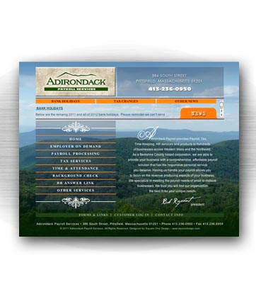 Client: ADIRONDACK PAYROLL, payroll, tax, time-keeping, HR services. Pittsfield, MA. Project: Website design