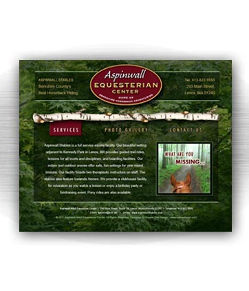 Client: ASPINWALL STABLES, equestrian center. Lenox, MA. Project: Website design