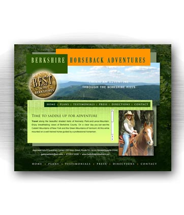 Client: BERKSHIRE HORSEBACK ADVENTURES, equestrian center. Lenox, MA. Project: Website design