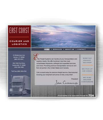 Client: EAST COAST COURIER, freight company, Vernon, CT. Project: Website design