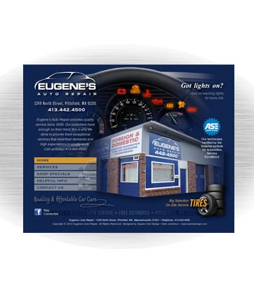 Client: EUGENE'S AUTO REPAIR, Car Repair Shop. Pittsfield, MA. Project: Website design