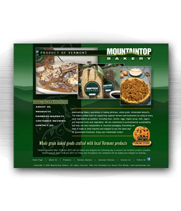Client: MOUNTAINTOP BAKERY, whole grain homemade desserts. Irasburg, VT. Project: Website design